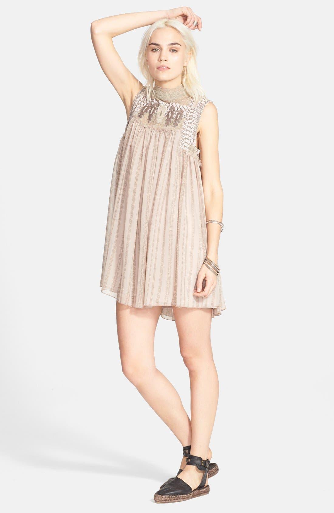 Main Image - Free People Embroidered Yoke Print Babydoll Dress