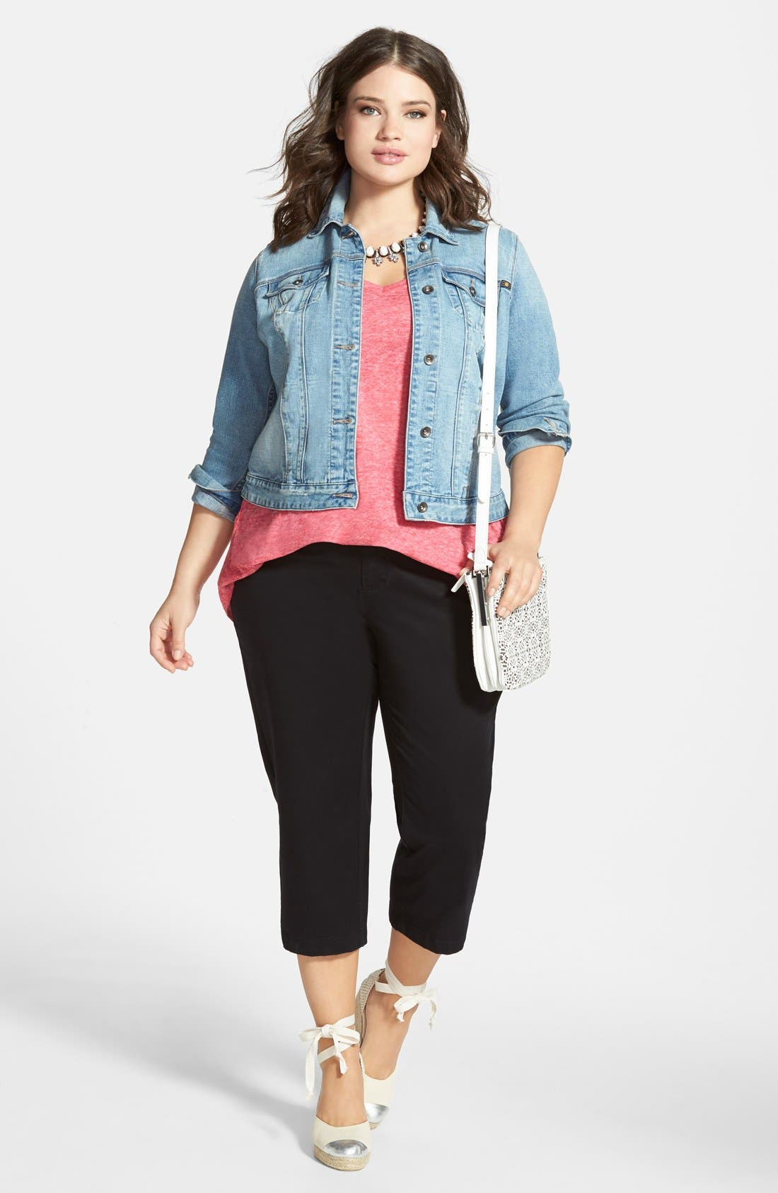 Alternate Image 4  - Lucky Brand 'Dixie' Denim Jacket (Plus Size)