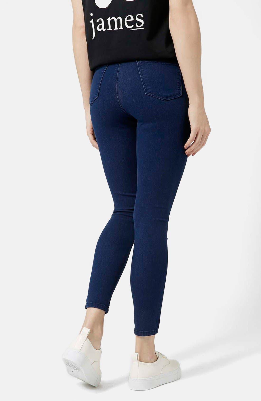 Alternate Image 2  - Topshop Moto 'Joni' Ankle Skinny Jeans (Bright Blue) (Petite)