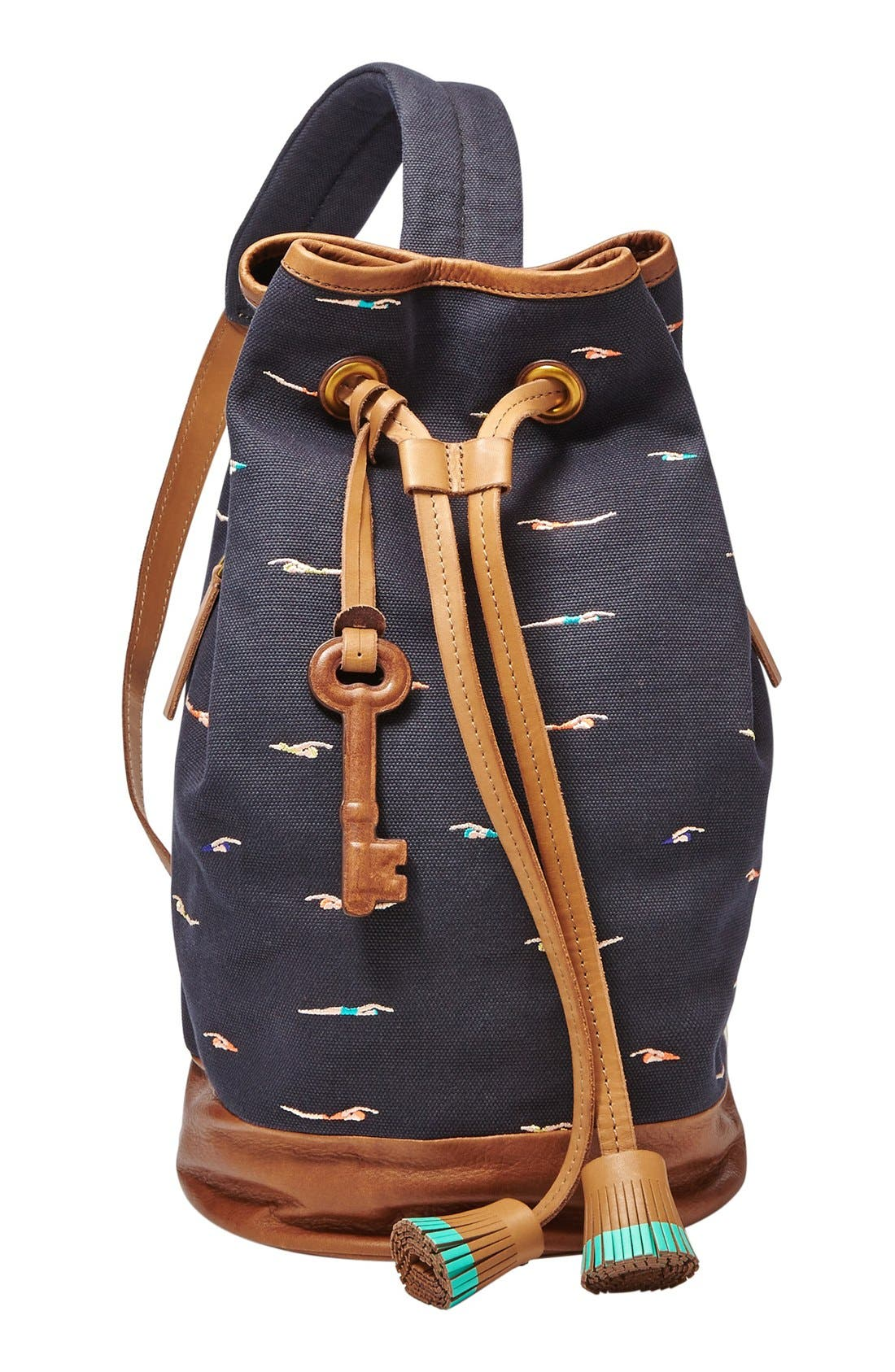 Main Image - Fossil 'Hudson' Embroidered Canvas Sling Bag