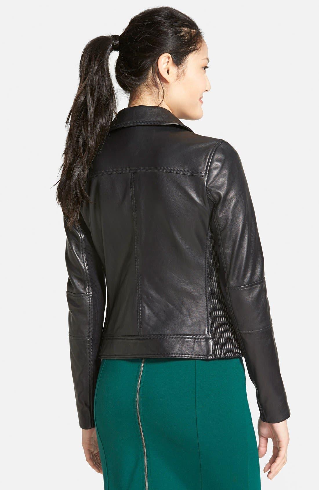 Alternate Image 2  - Halogen® Smocked Leather Jacket