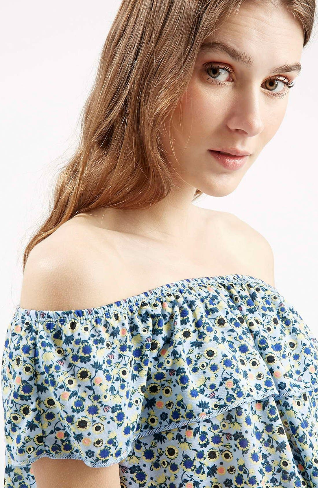 Alternate Image 5  - Topshop Floral Print Off the Shoulder Top