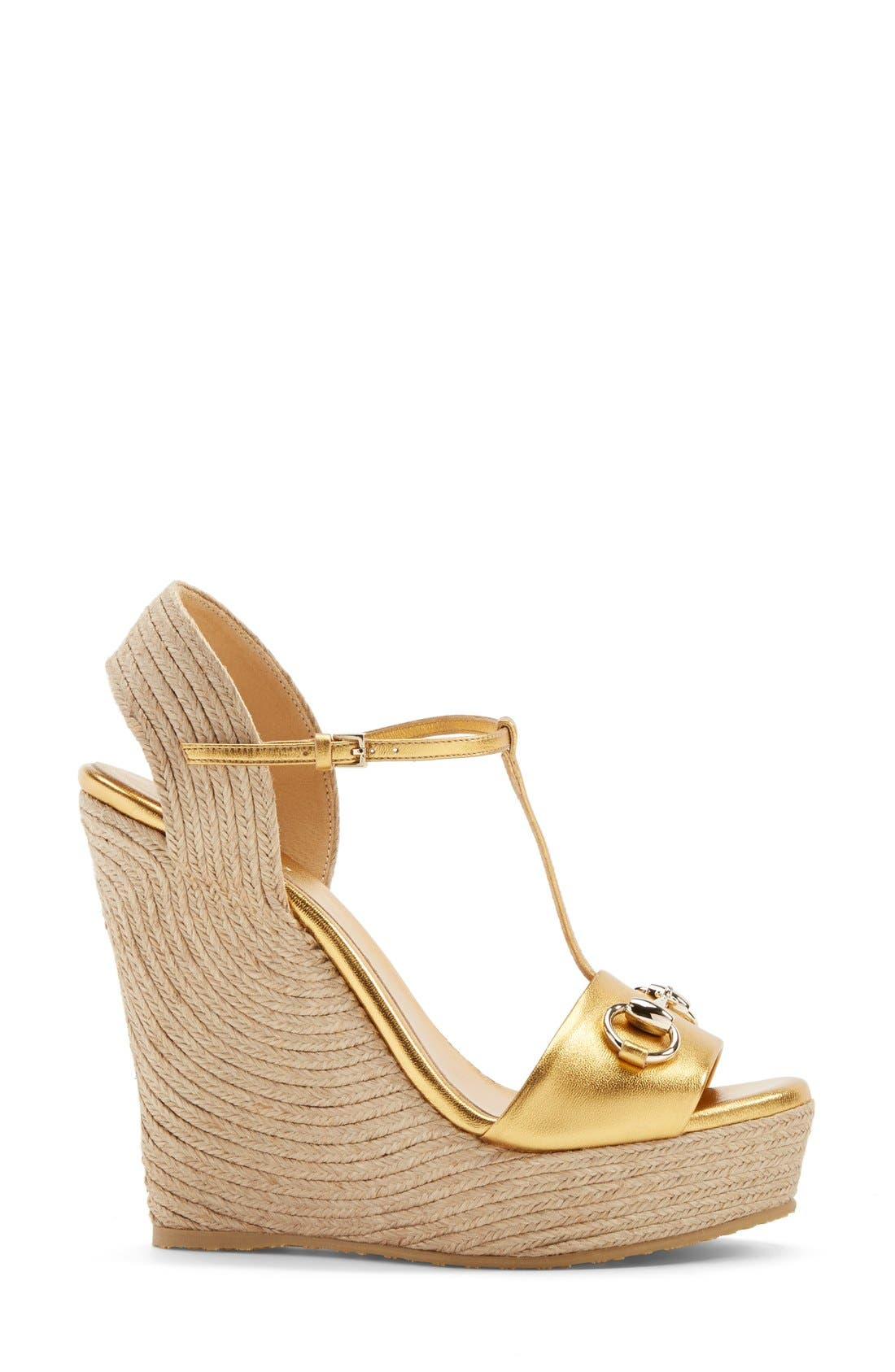 Alternate Image 4  - Gucci 'Rafia' T-Strap Wedge Sandal (Women)