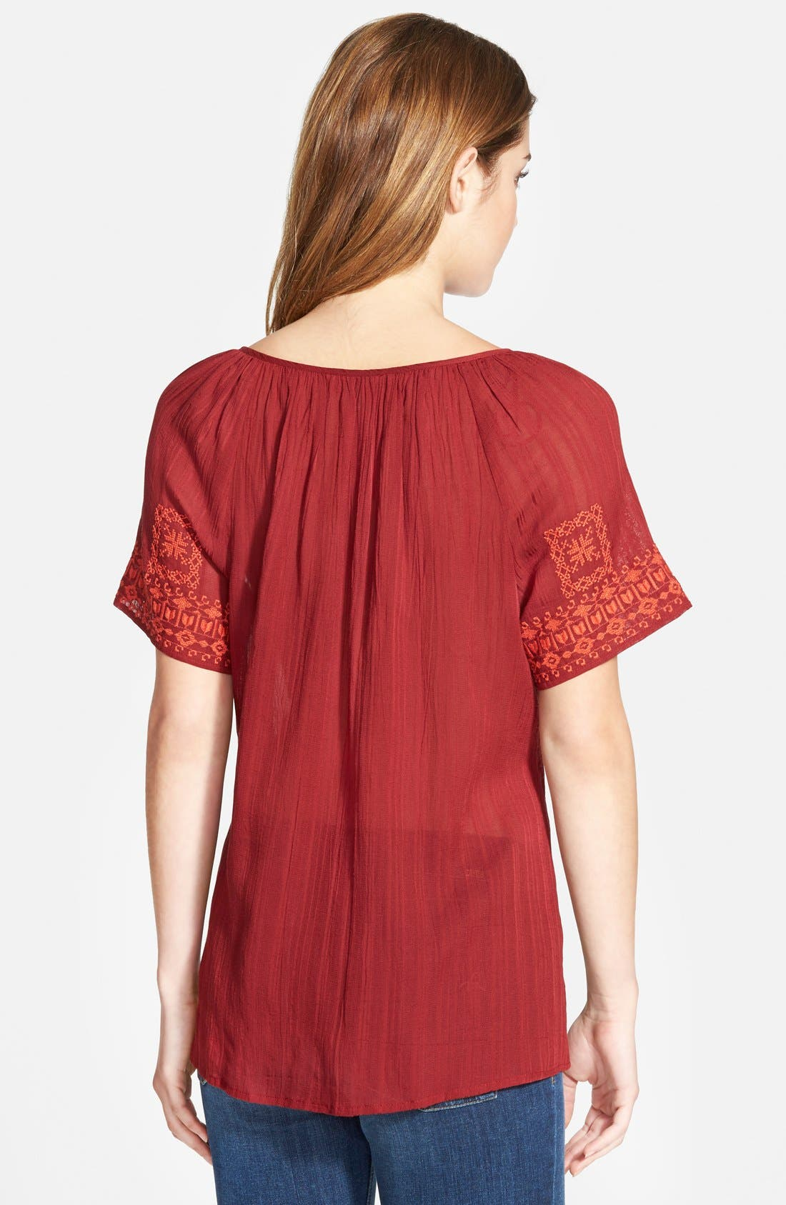 Alternate Image 2  - Lucky Brand Embroidered Split Neck Peasant Top