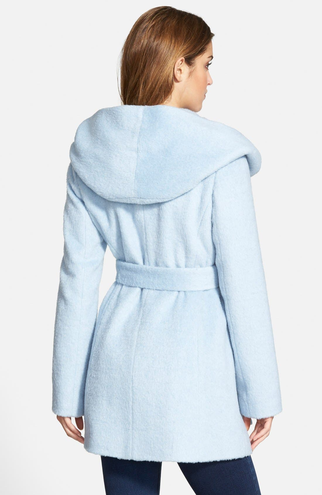 Alternate Image 2  - GUESS Hooded Shawl Collar Wrap Coat (Online Only)