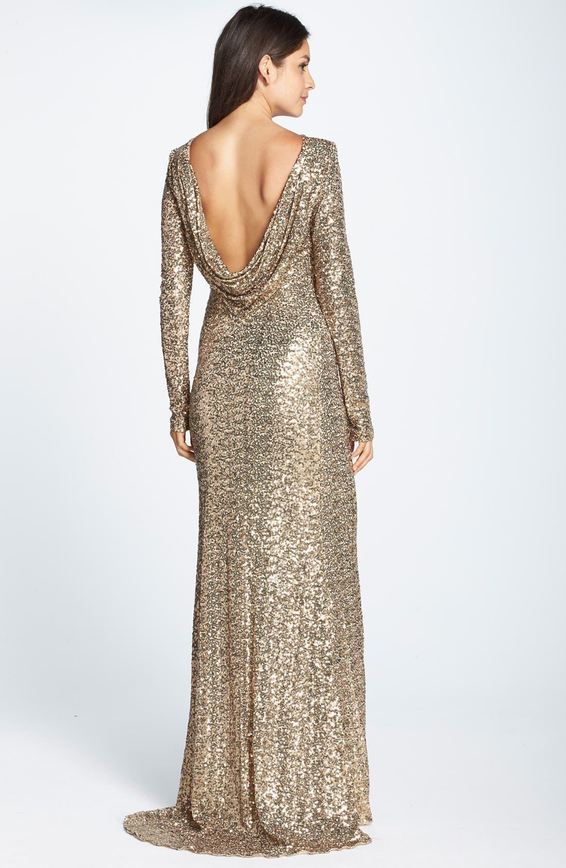 Alternate Image 2  - Badgley Mischka Sequin Drape Back Gown