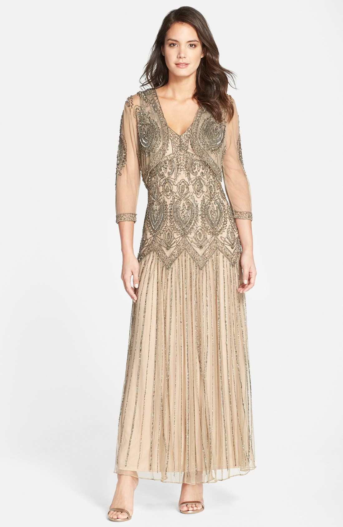 Main Image - Pisarro Nights Embellished Mesh Dress & Jacket