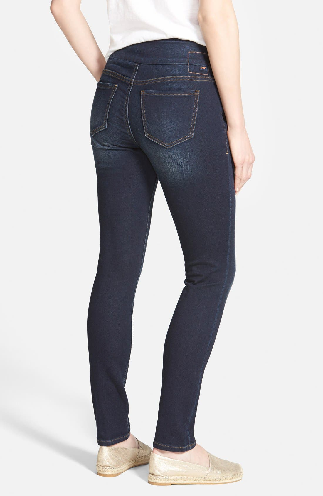 Alternate Image 2  - Jag Jeans 'Nora' Pull-On Stretch Knit Skinny Jeans (Dark Whale) (Petite)