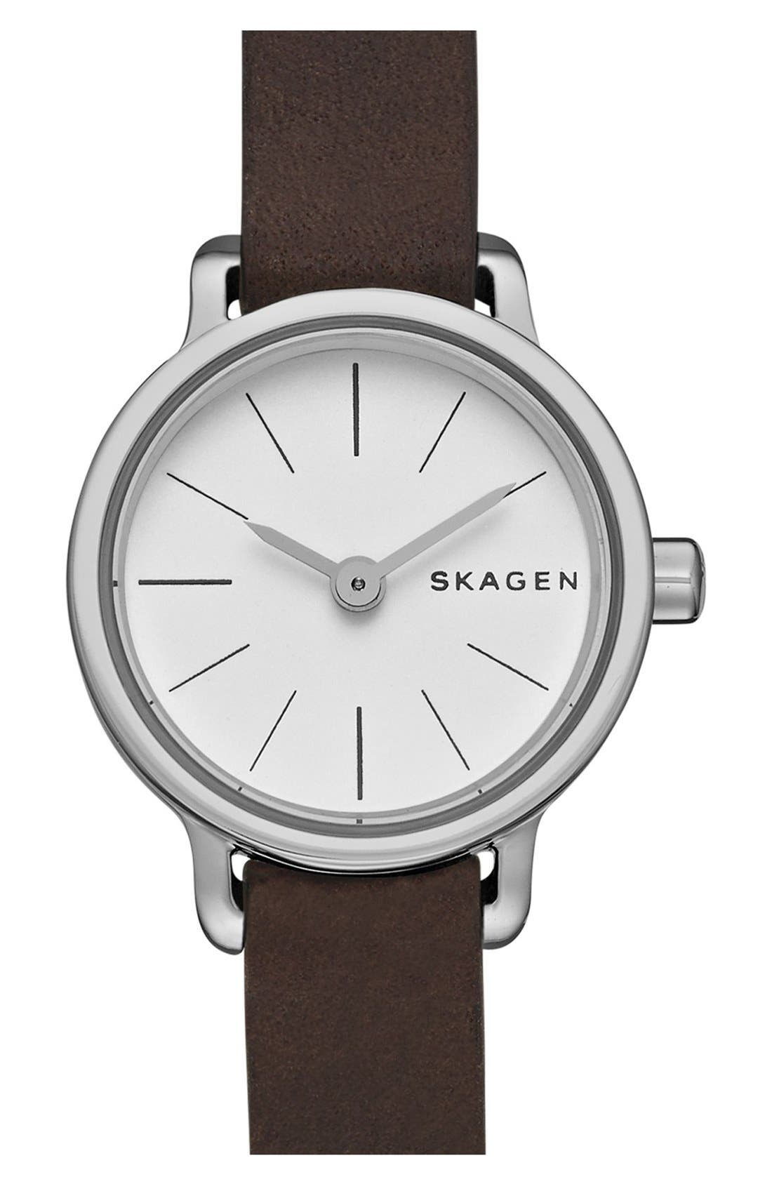 Alternate Image 1 Selected - Skagen 'Hagen' Leather Strap Watch, 20mm