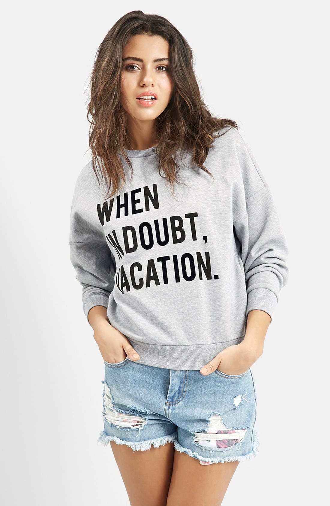Main Image - KENDALL + KYLIE at Topshop 'When in Doubt, Vacation' Crewneck Pullover