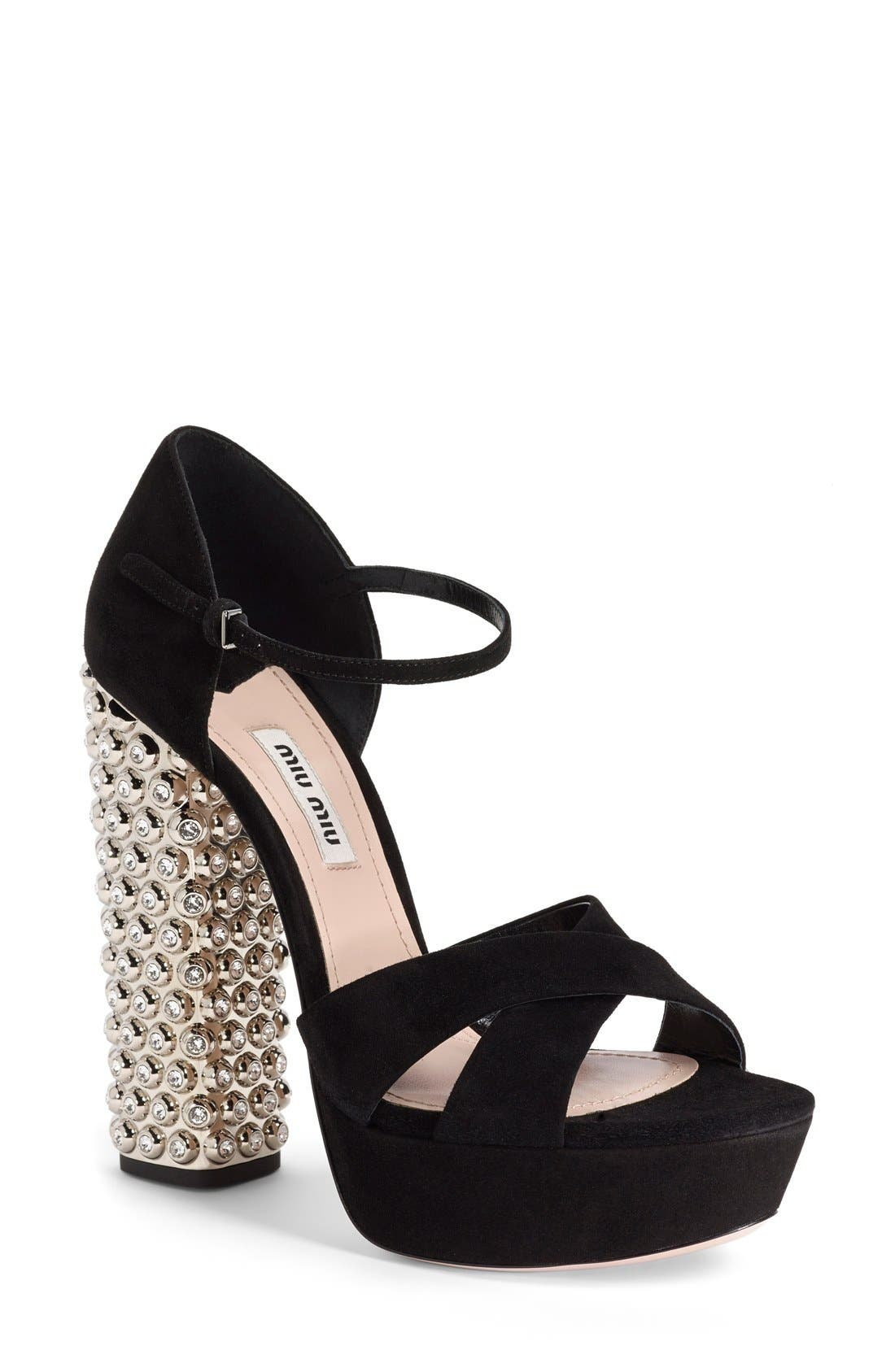 Alternate Image 1 Selected - Miu Miu Jeweled Platform Sandal (Women)