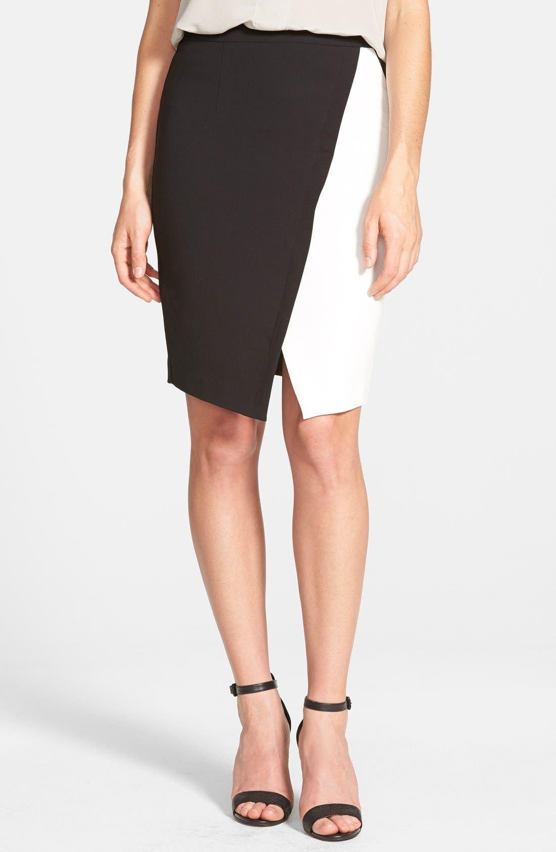 Main Image - Halogen® Colorblock Faux Wrap Skirt