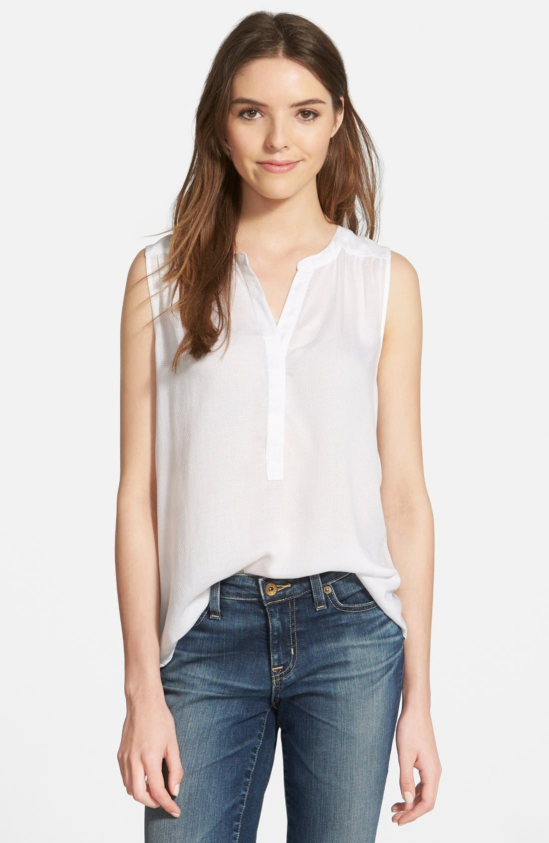 Alternate Image 1 Selected - Lucky Brand Woven Tank with Back Cutout