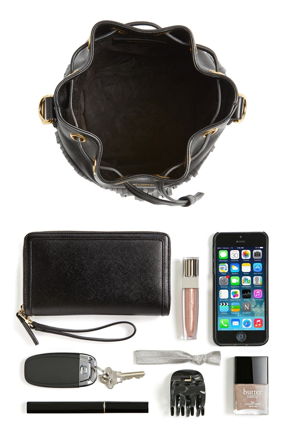 Alternate Image 7  - Saint Laurent Fringe Calfskin Bucket Bag