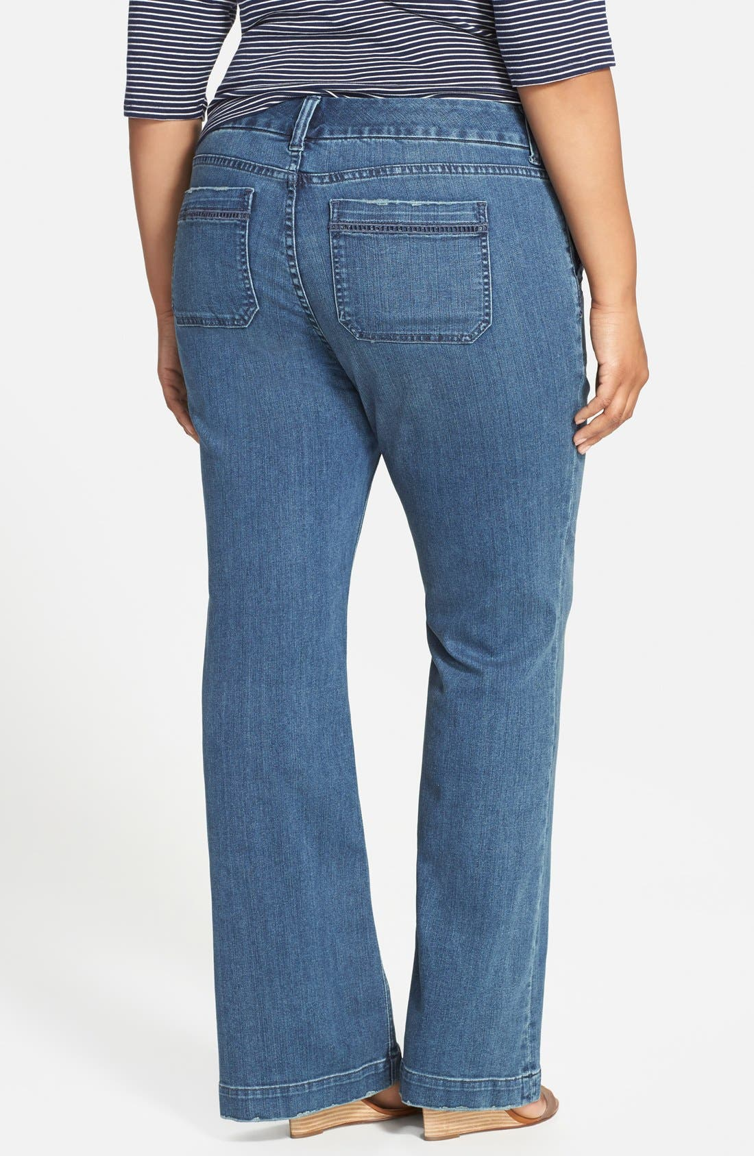 Alternate Image 2  - Melissa McCarthy Seven7 Stretch Flare Leg Jeans (Deluxe Blue) (Plus Size)