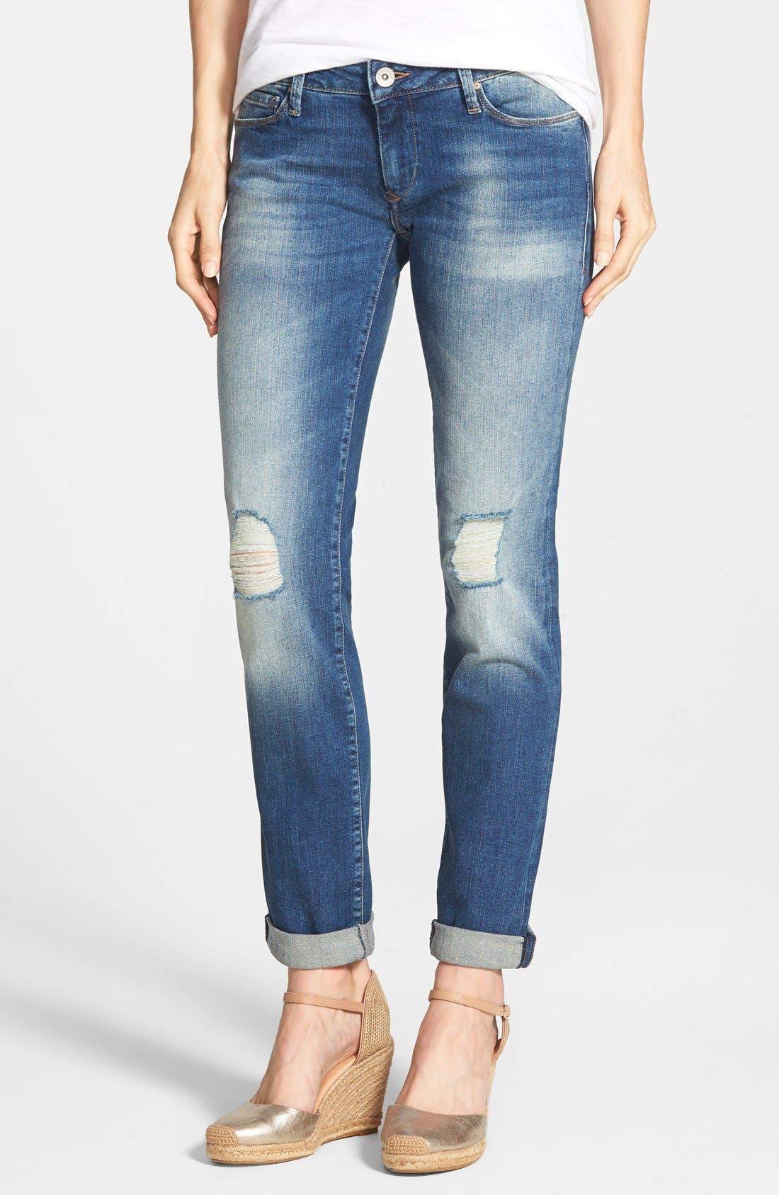 Alternate Image 1 Selected - Mavi Jeans Emma Ripped Knee Boyfriend Slim Jeans (Vintage)