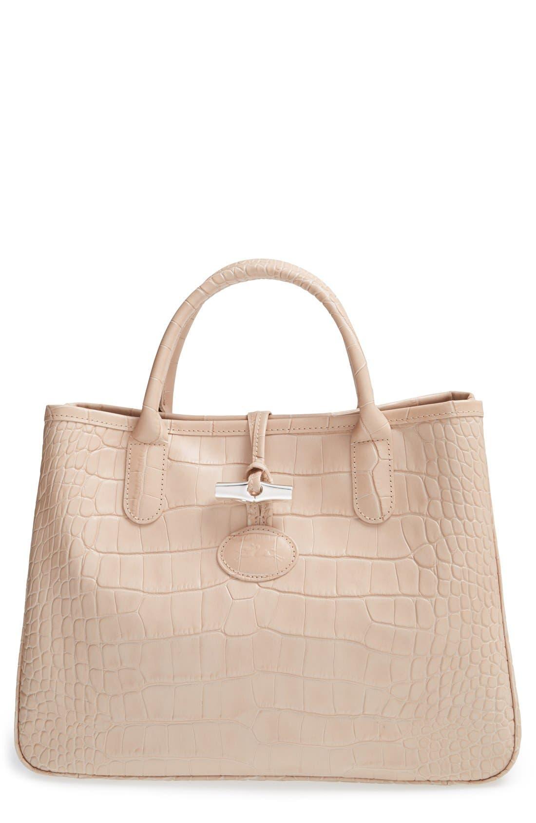 Main Image - Longchamp 'Small Roseau Croco' Shoulder Tote