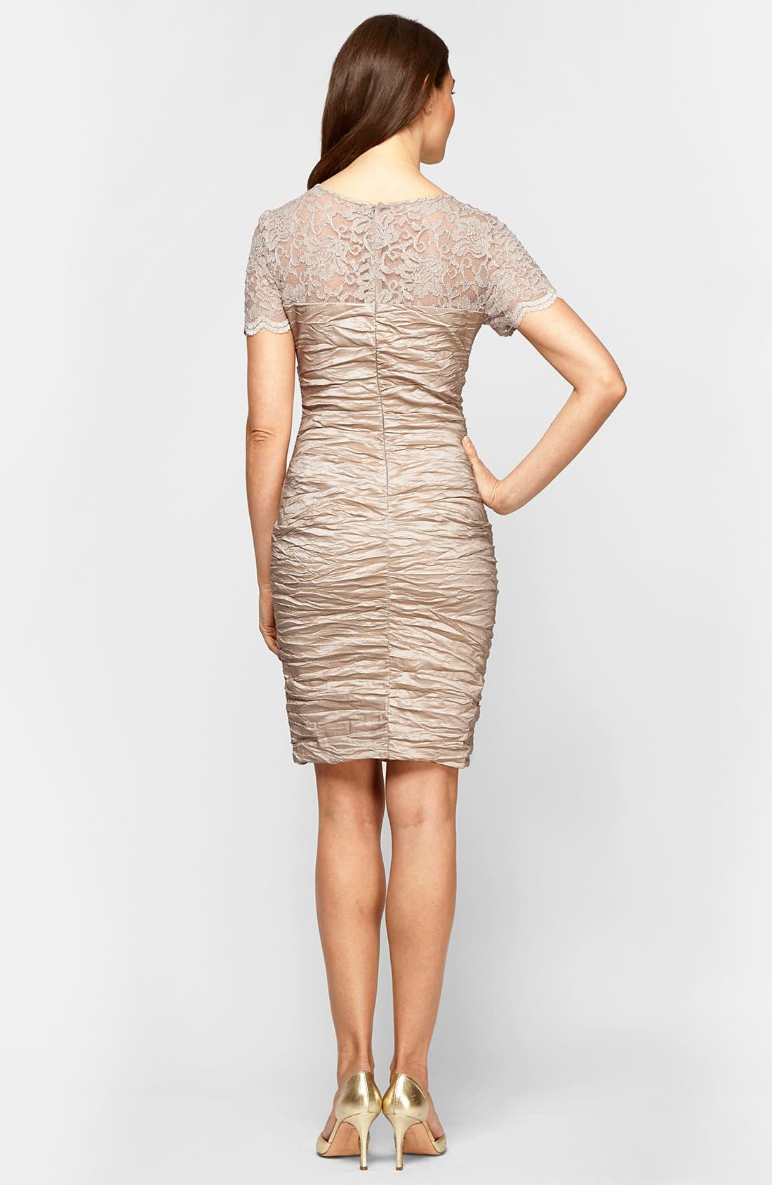 Alternate Image 2  - Alex Evenings Lace Illusion Yoke Sheath Dress