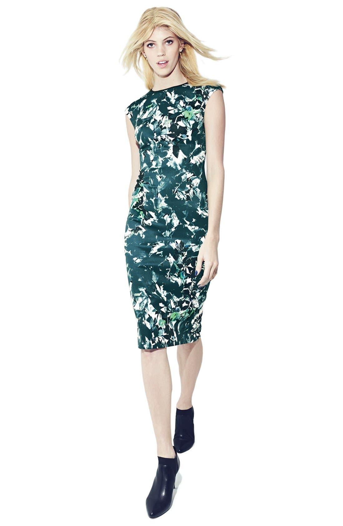 Alternate Image 7  - Maggy London 'Shadow Branch' Print Scuba Midi Dress (Regular & Petite)
