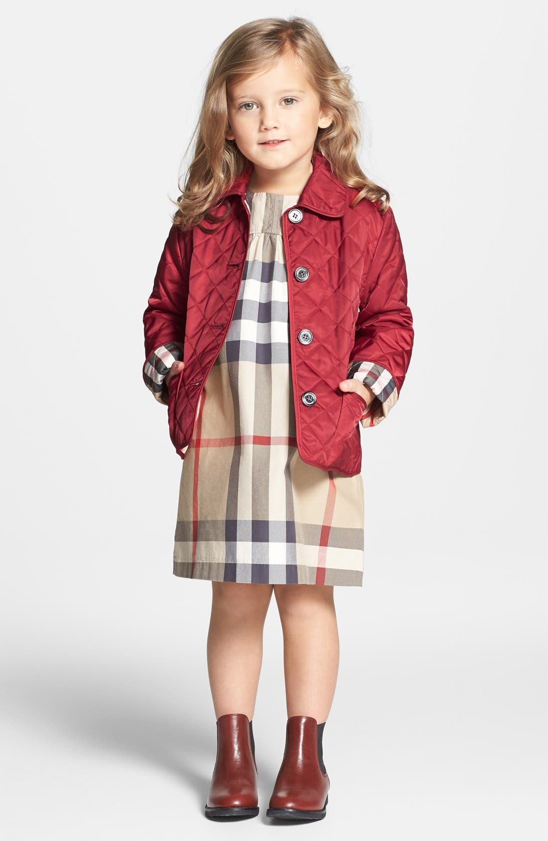 Alternate Image 2  - Burberry Quilted Check Trim Coat (Little Girls)