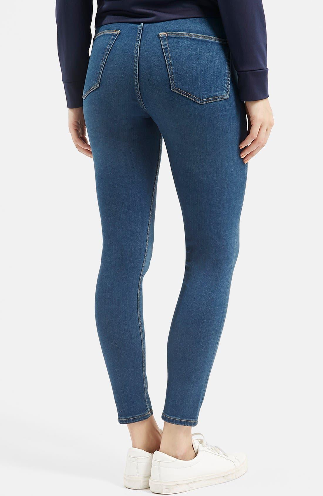 Alternate Image 3  - Topshop Moto 'Jamie' High Rise Skinny Jeans (Blue)