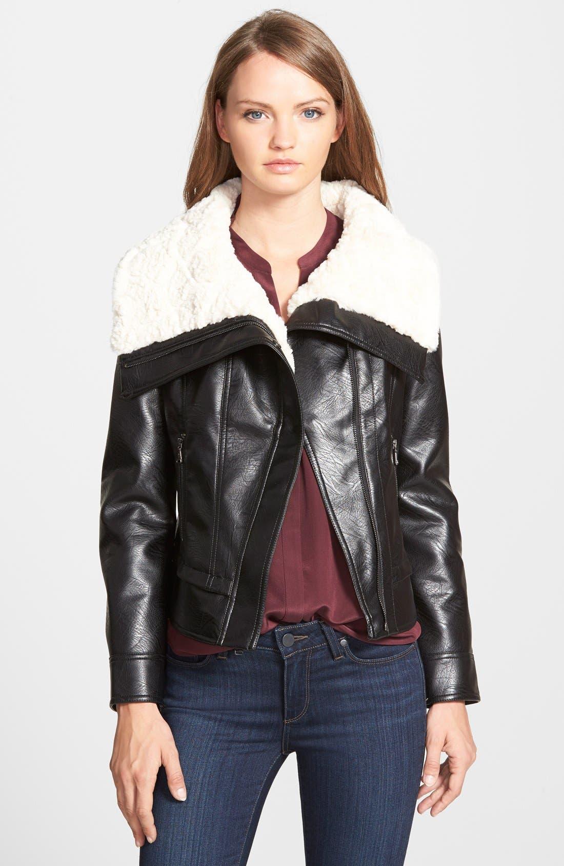 Main Image - GUESS Faux Shearling Moto Jacket