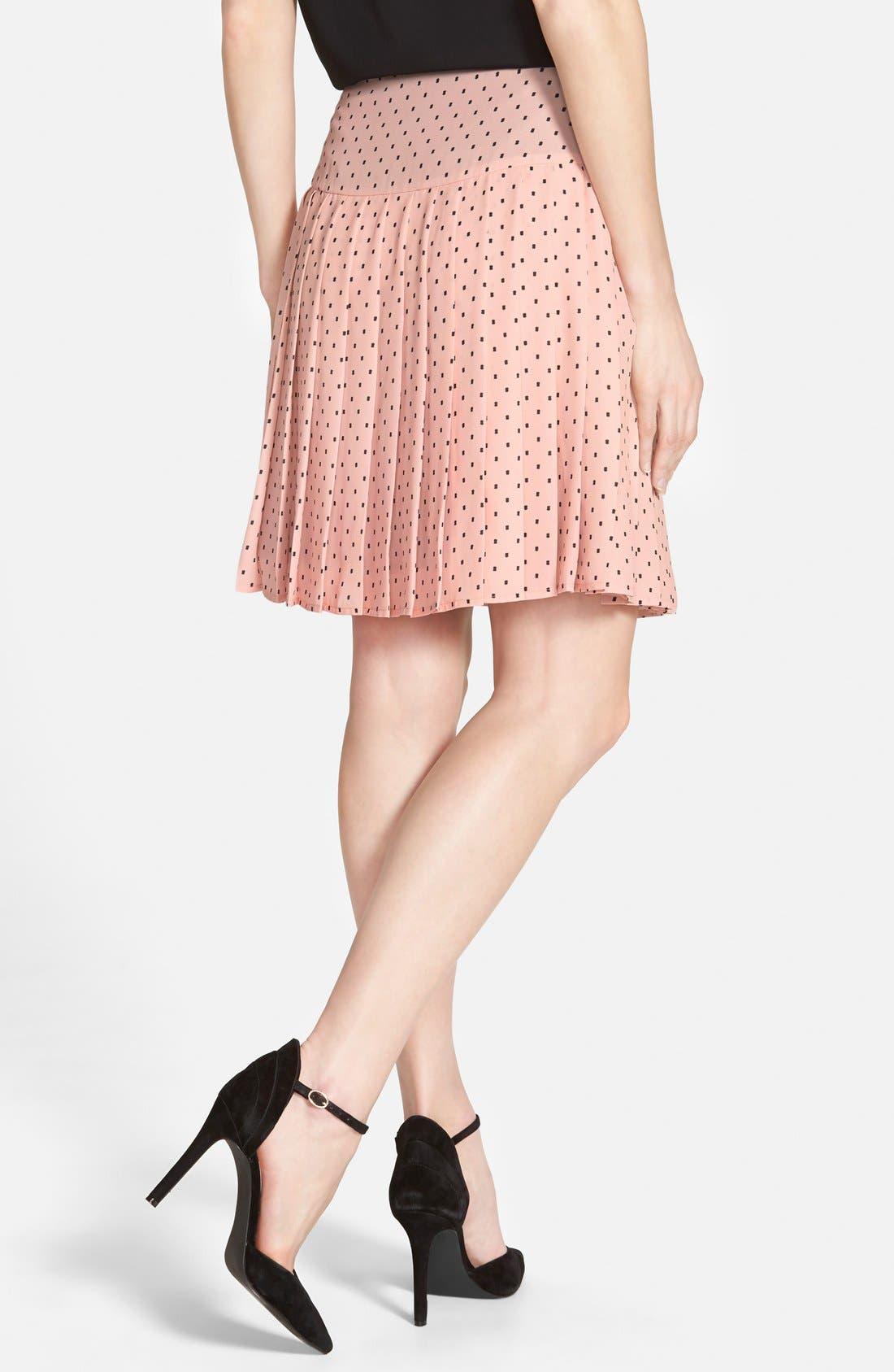Alternate Image 2  - Halogen® Print Pleat Drop Yoke Skirt (Regular & Petite)
