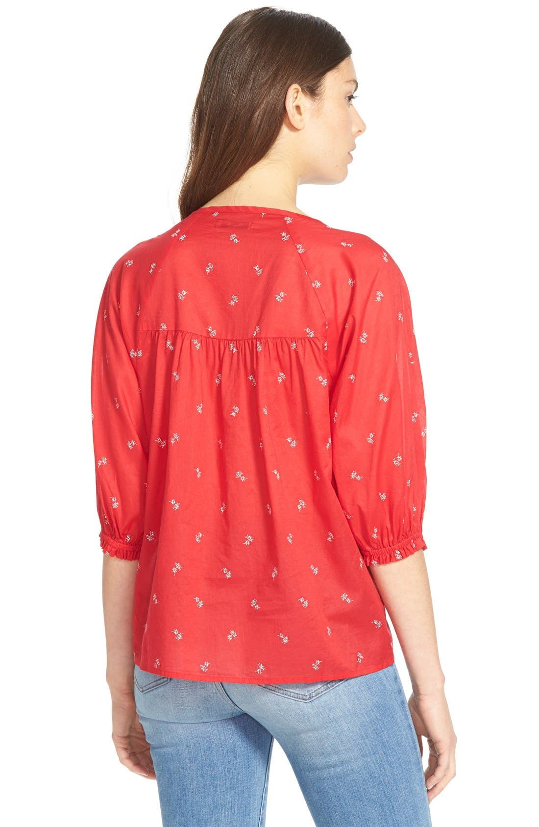 Alternate Image 2  - Madewell 'Bouquet Scatter' Shirred Peasant Top