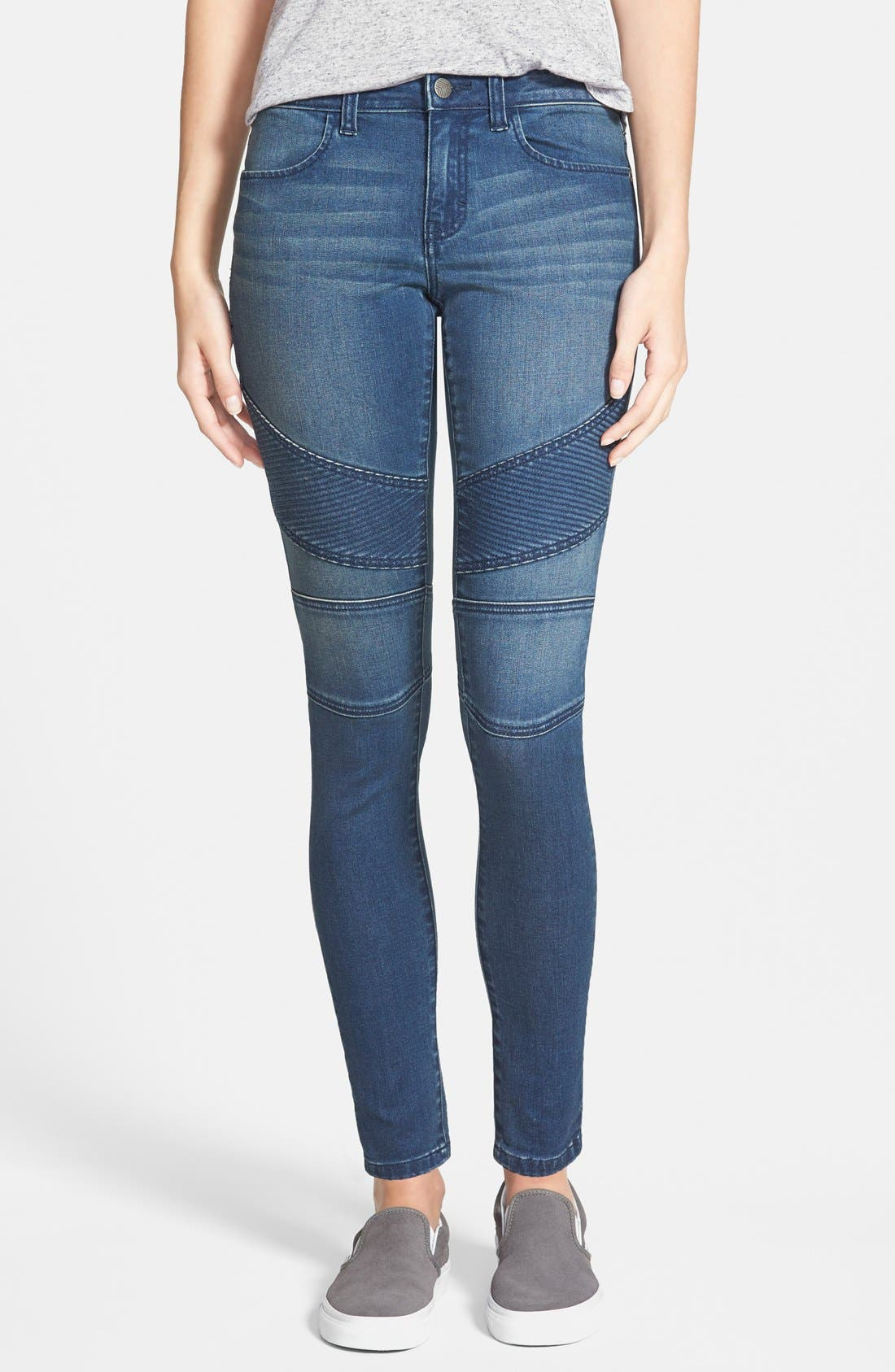 Alternate Image 1 Selected - Sun & Shadow Moto Denim Leggings (Rugged Blue)