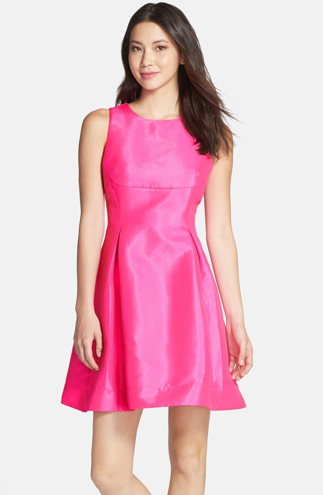 Main Image - Kaya & Sloane Satin Fit & Flare Dress