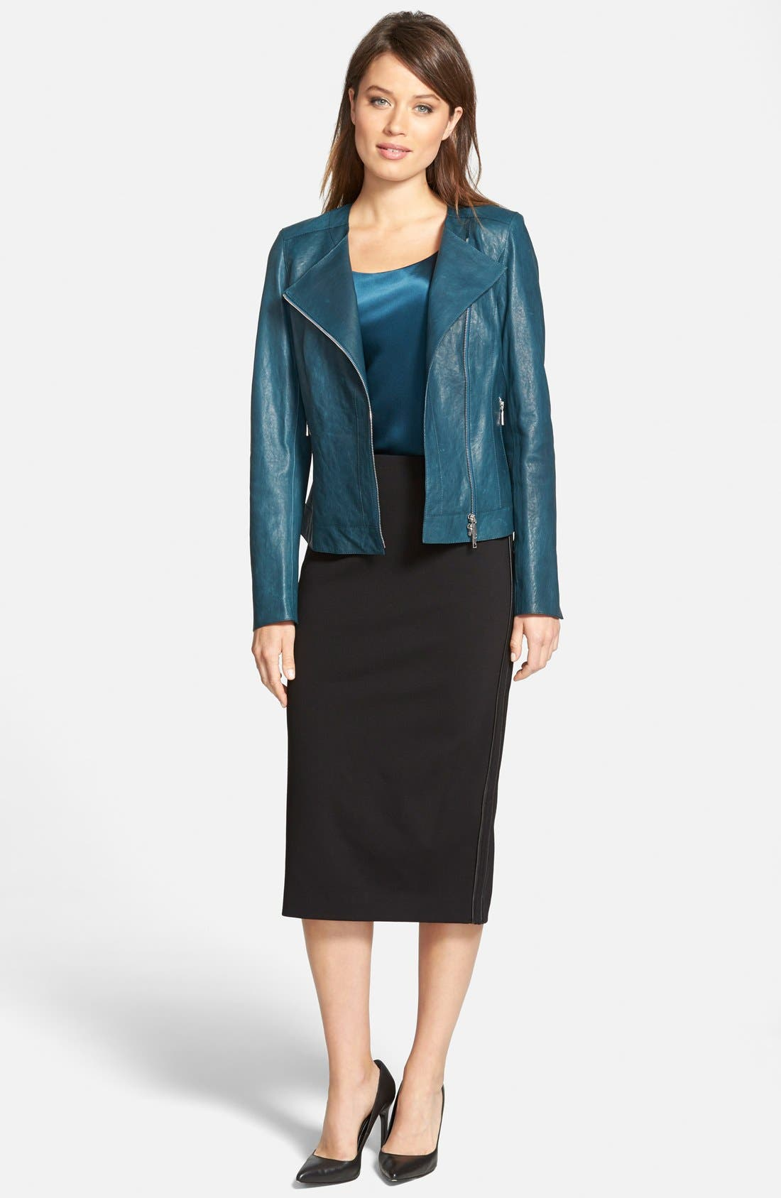Alternate Image 5  - Lafayette 148 New York Faux Leather Trim Punto Milano Long Pencil Skirt