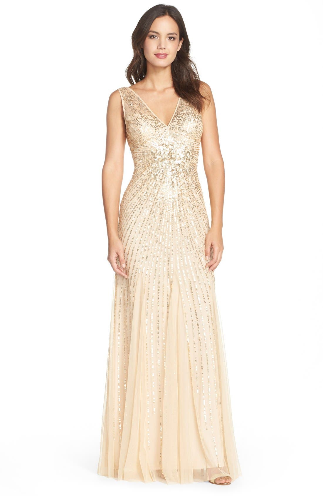 Alternate Image 1 Selected - Adrianna Papell Beaded Mesh Mermaid Gown
