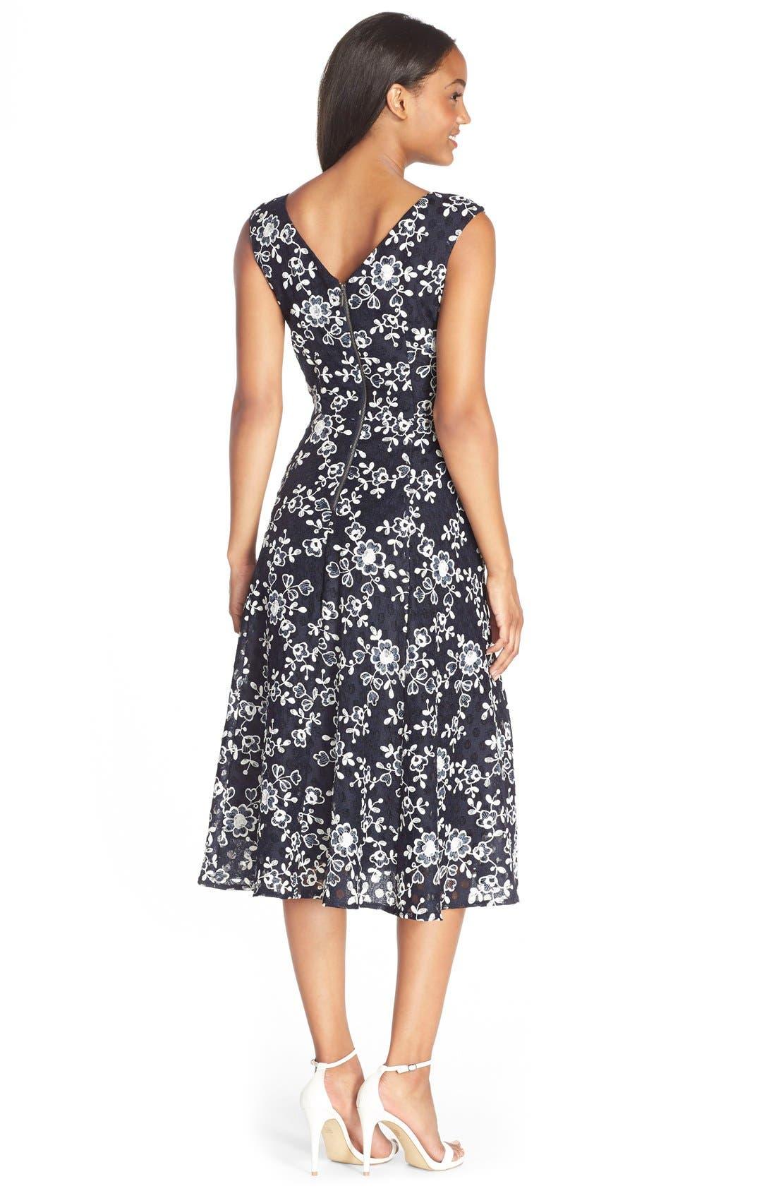 Alternate Image 2  - Betsey Johnson Lace Midi Fit & Flare Dress