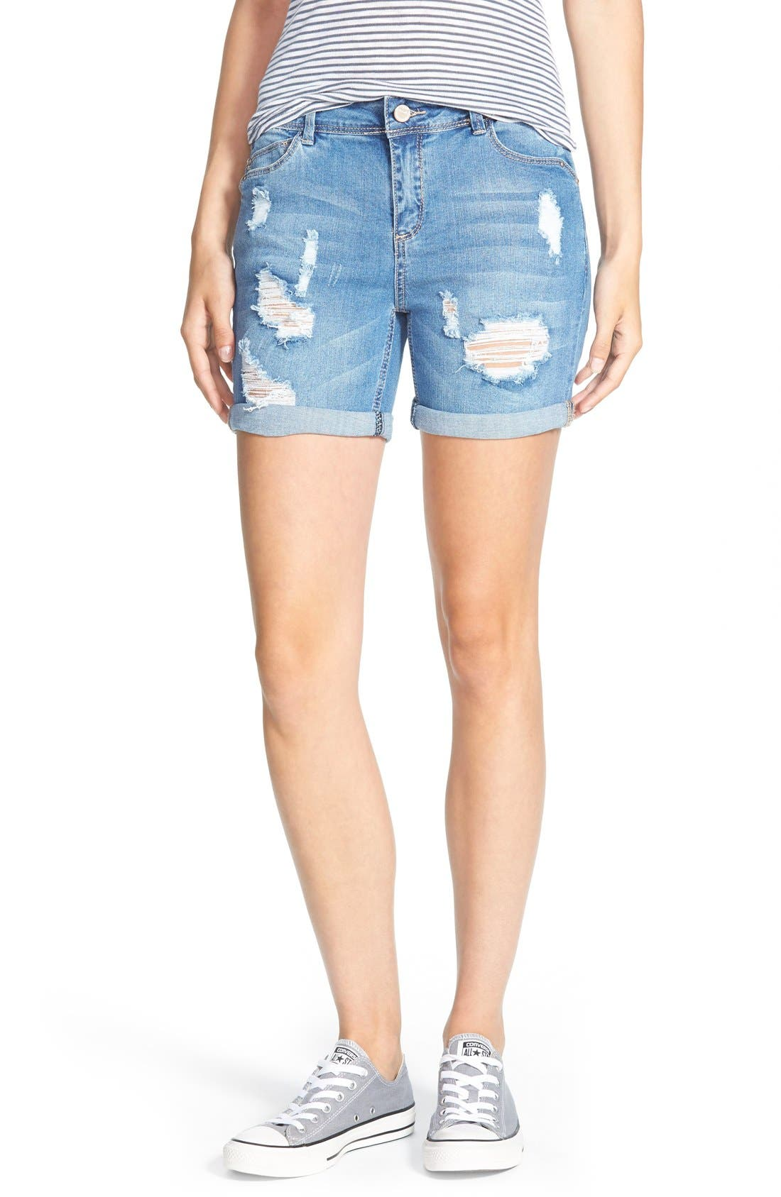 Alternate Image 1 Selected - HART Denim 'Nixie' Cuffed Denim Shorts (Light Stone)