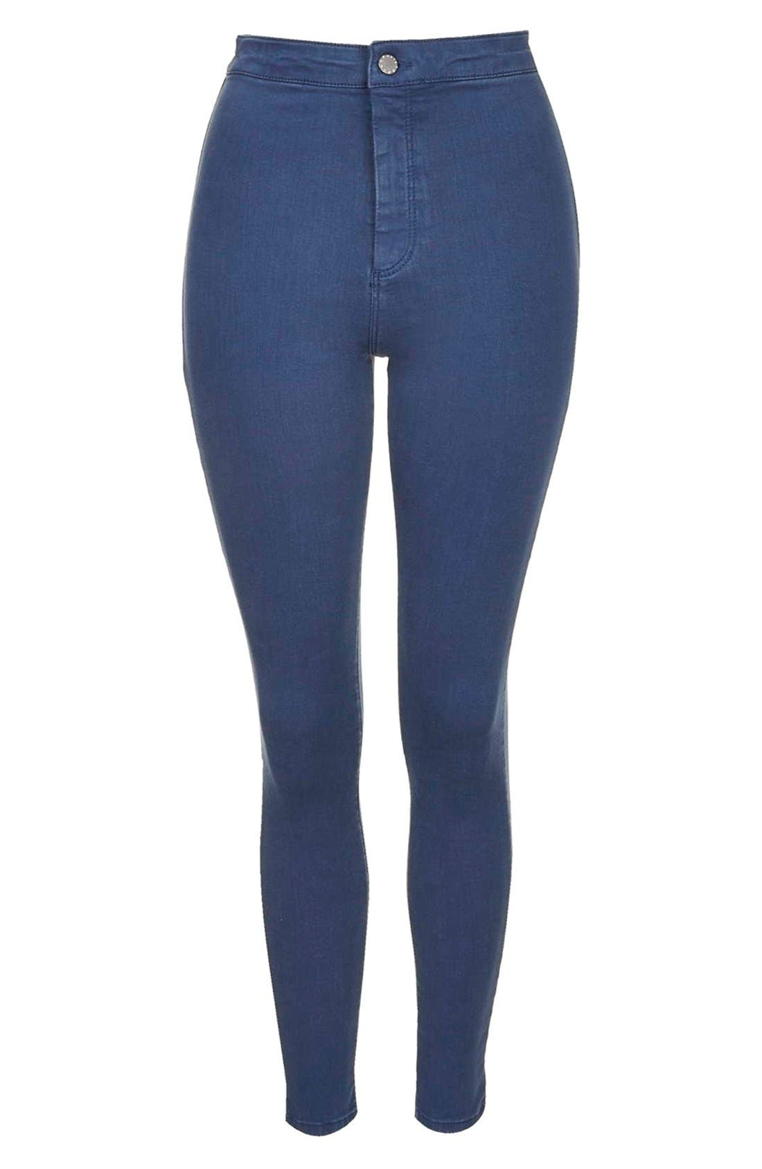 Alternate Image 4  - Topshop Moto 'Joni' High Rise Skinny Jeans (Blue)