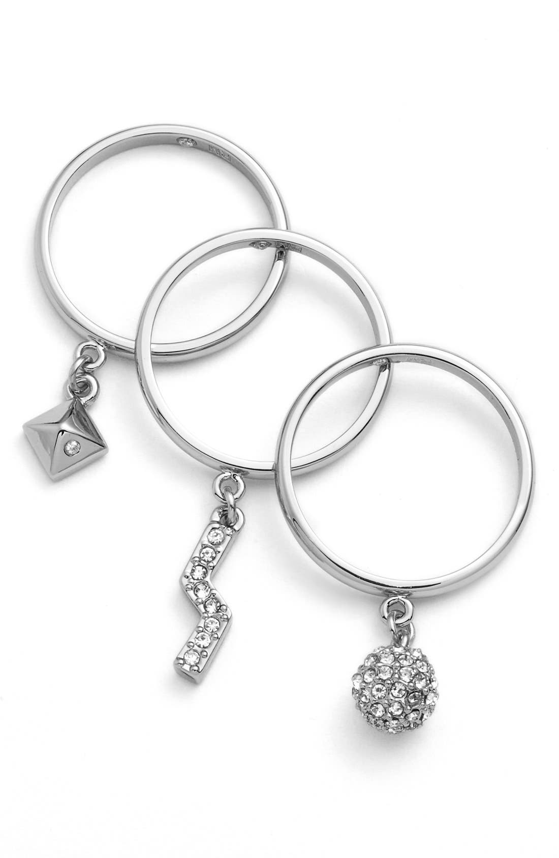 Alternate Image 2  - Rebecca Minkoff 'Jewel Box' Stackable Charm Rings (Set of 3)