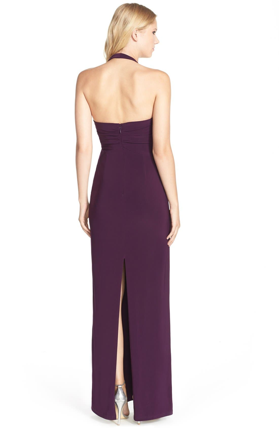 Alternate Image 2  - Adrianna Papell Jersey Halter Gown