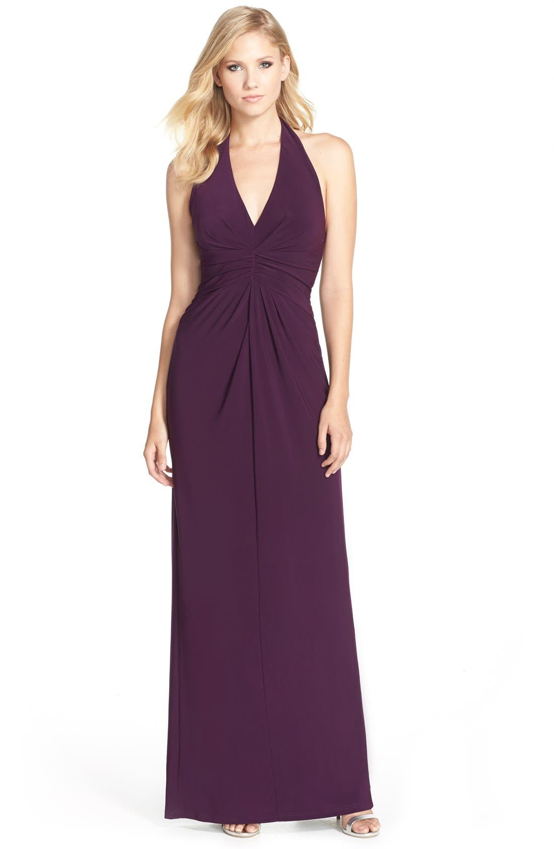 Alternate Image 1 Selected - Adrianna Papell Jersey Halter Gown