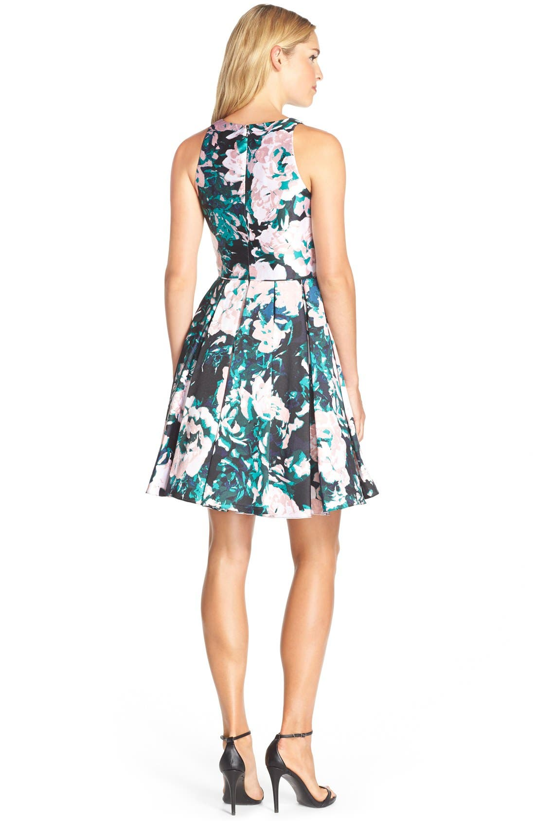Alternate Image 2  - Adrianna Papell Floral Print Mikado Fit & Flare Dress