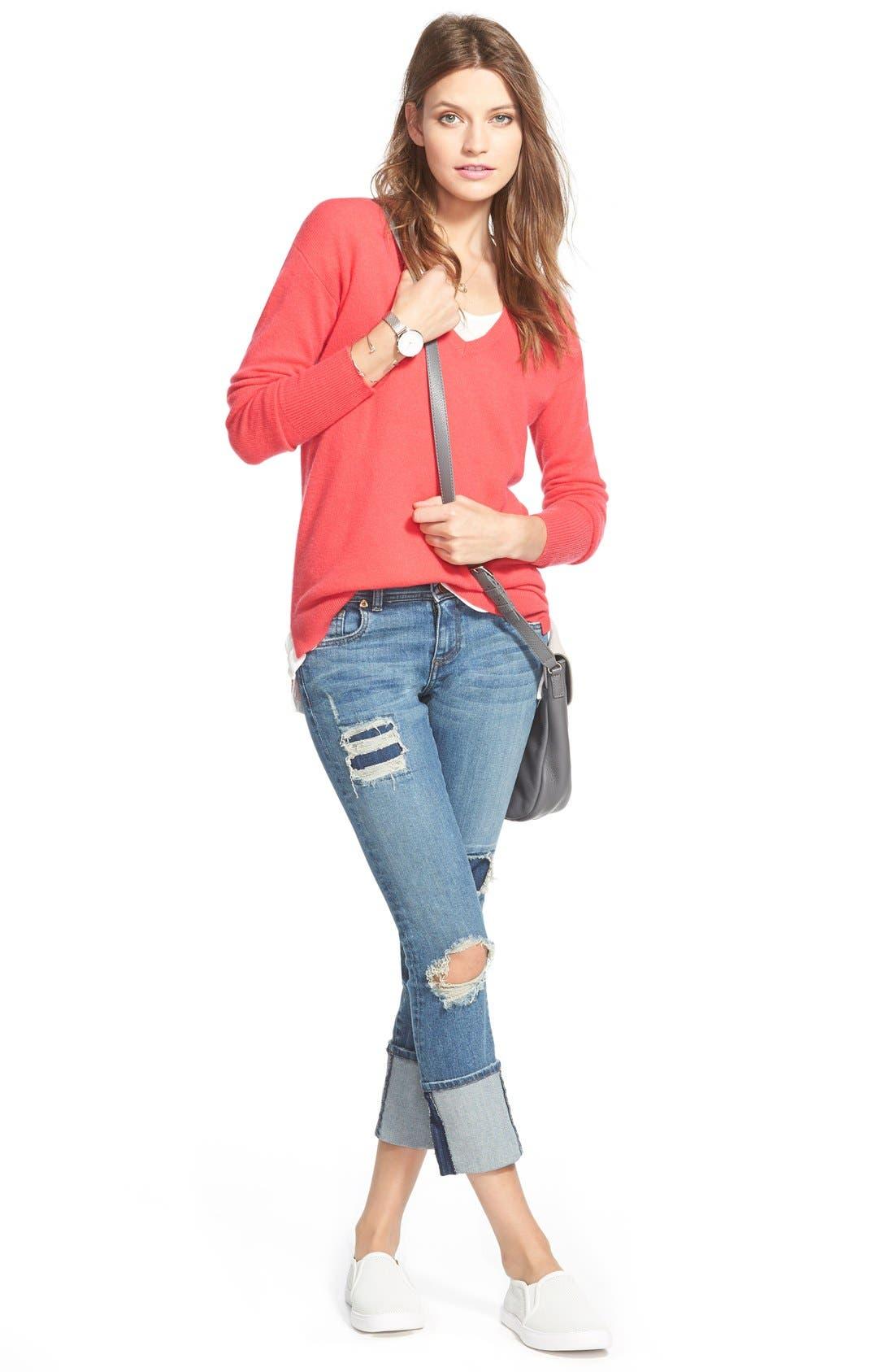 Alternate Image 2  - Halogen® V-Neck Lightweight Cashmere Sweater (Regular & Petite)