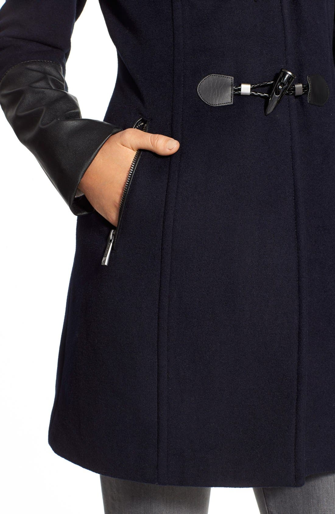 Alternate Image 6  - BCBGMAXAZRIA Faux Leather Trim Wool Blend Duffle Coat with Inset Bib