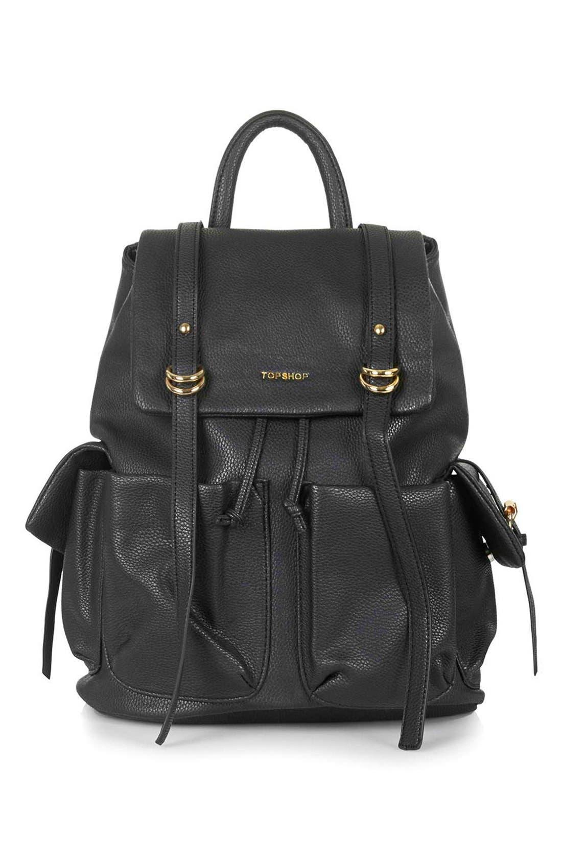 Main Image - Topshop 'Edinburgh' Faux Leather Backpack