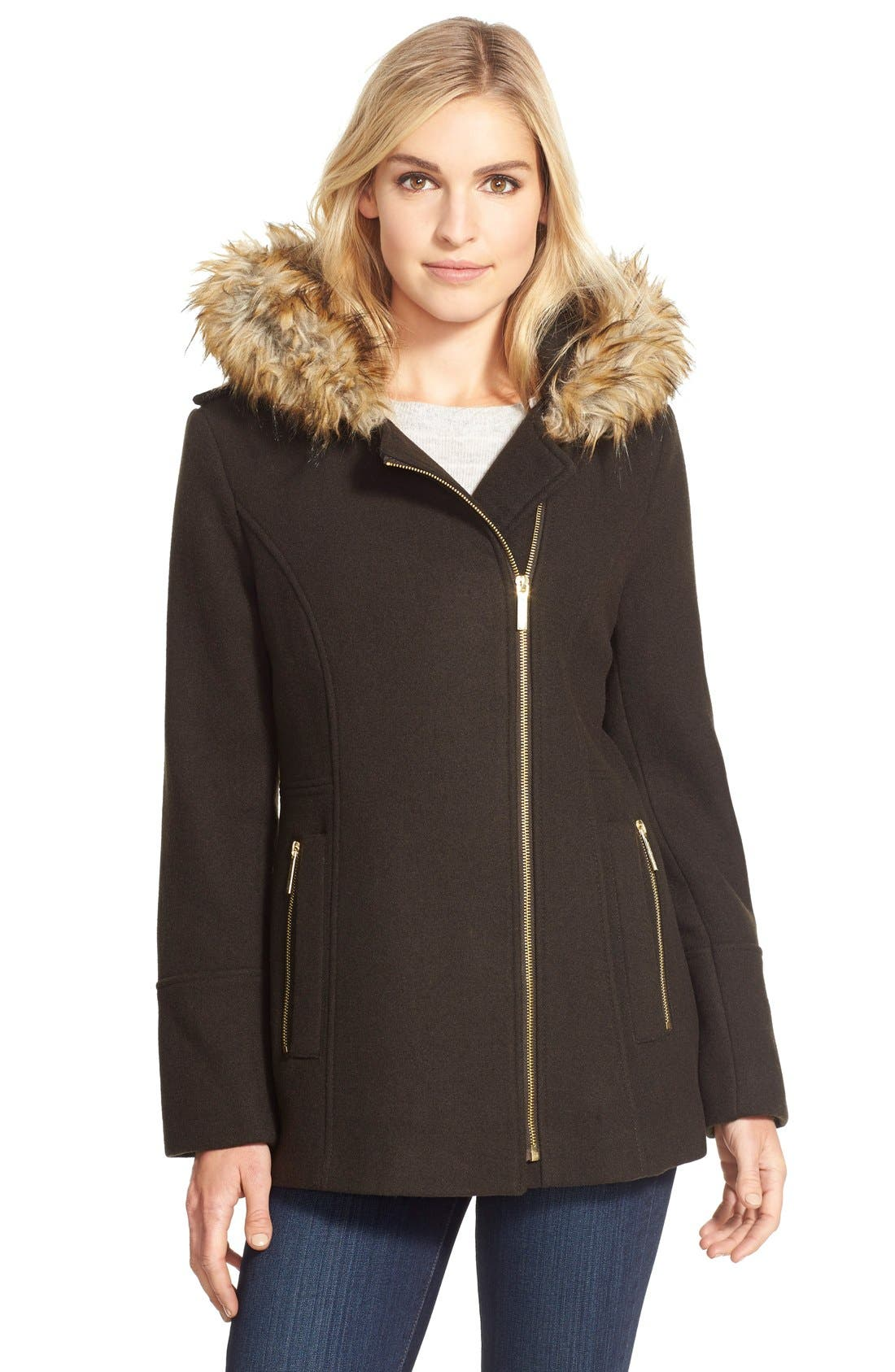 Main Image - <br> MICHAEL Michael Kors Belted Asymmetrical Wool Blend Coat with Faux Fur<br>