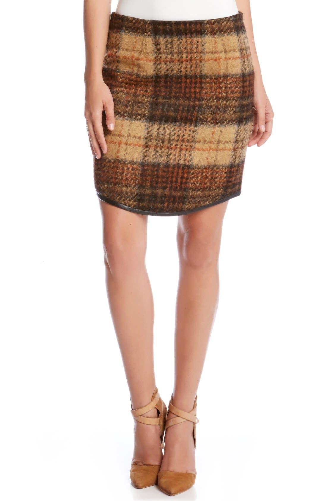 Main Image - Karen Kane Curved Hem Plaid Pencil Skirt