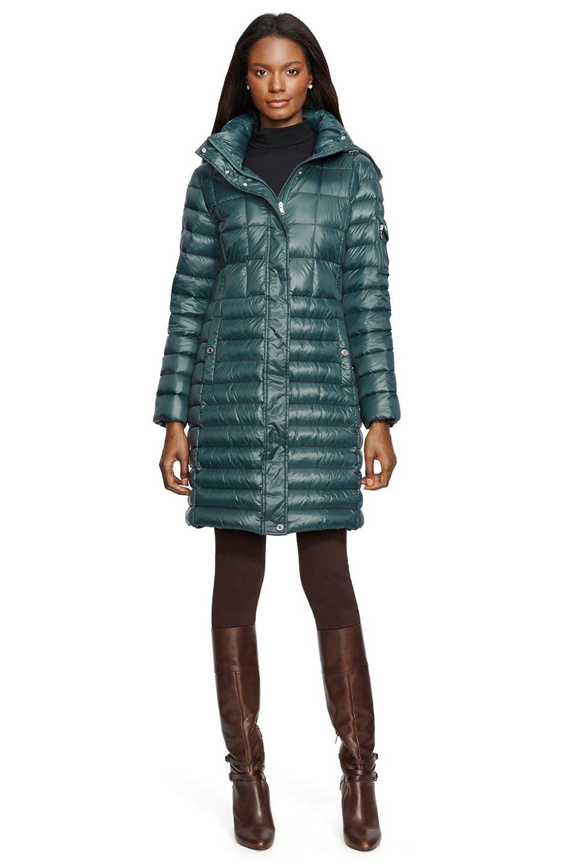 Main Image - Lauren Ralph Lauren Combo Quilt Packable Down Coat with Removable Hood