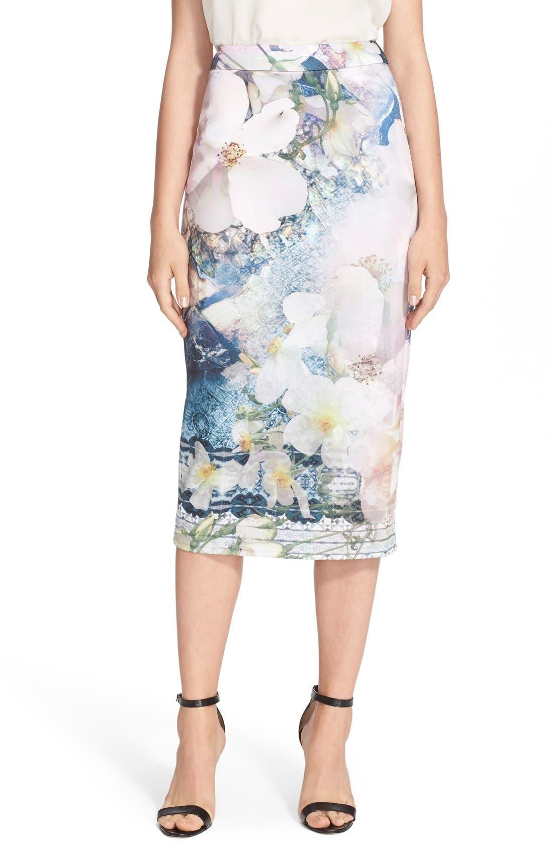 Main Image - Ted Baker London 'Sinda' Print Midi Pencil Skirt