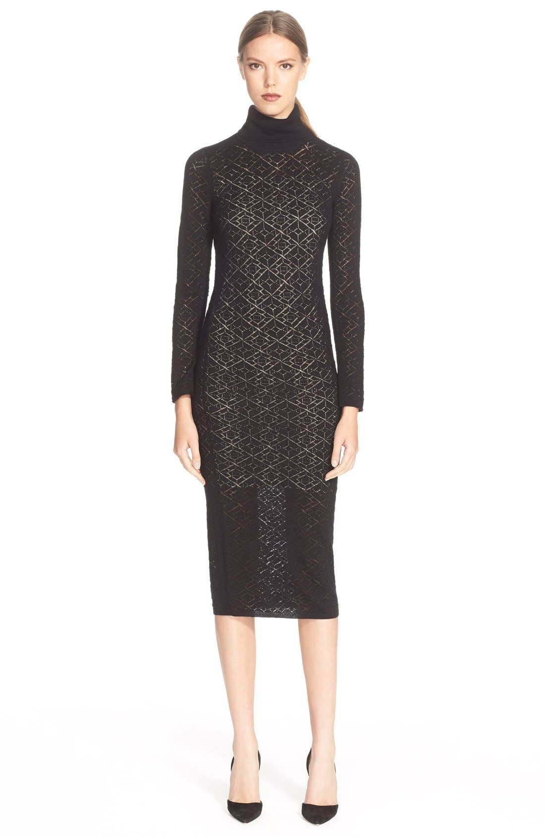 Alternate Image 1 Selected - Alice + Olivia 'Fergie' Turtleneck Body-Con Wool Dress