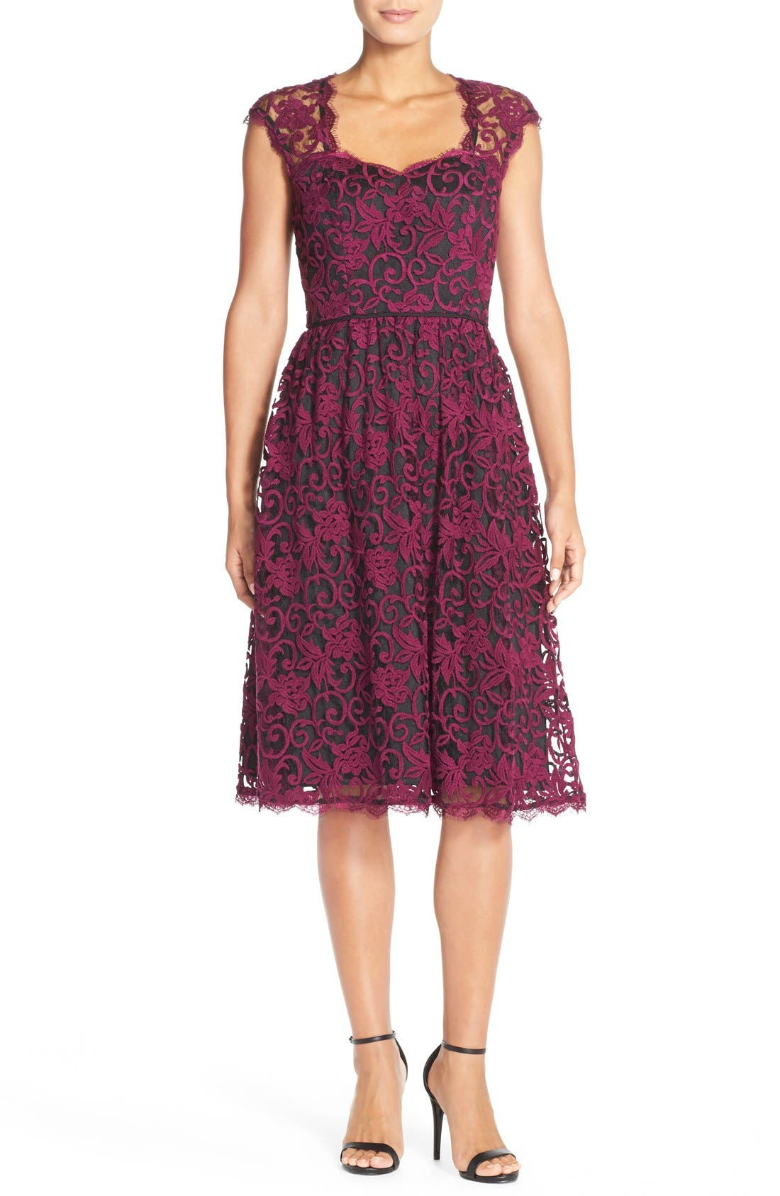 Alternate Image 3  - Adrianna PapellIllusion Lace Fit & Flare Dress