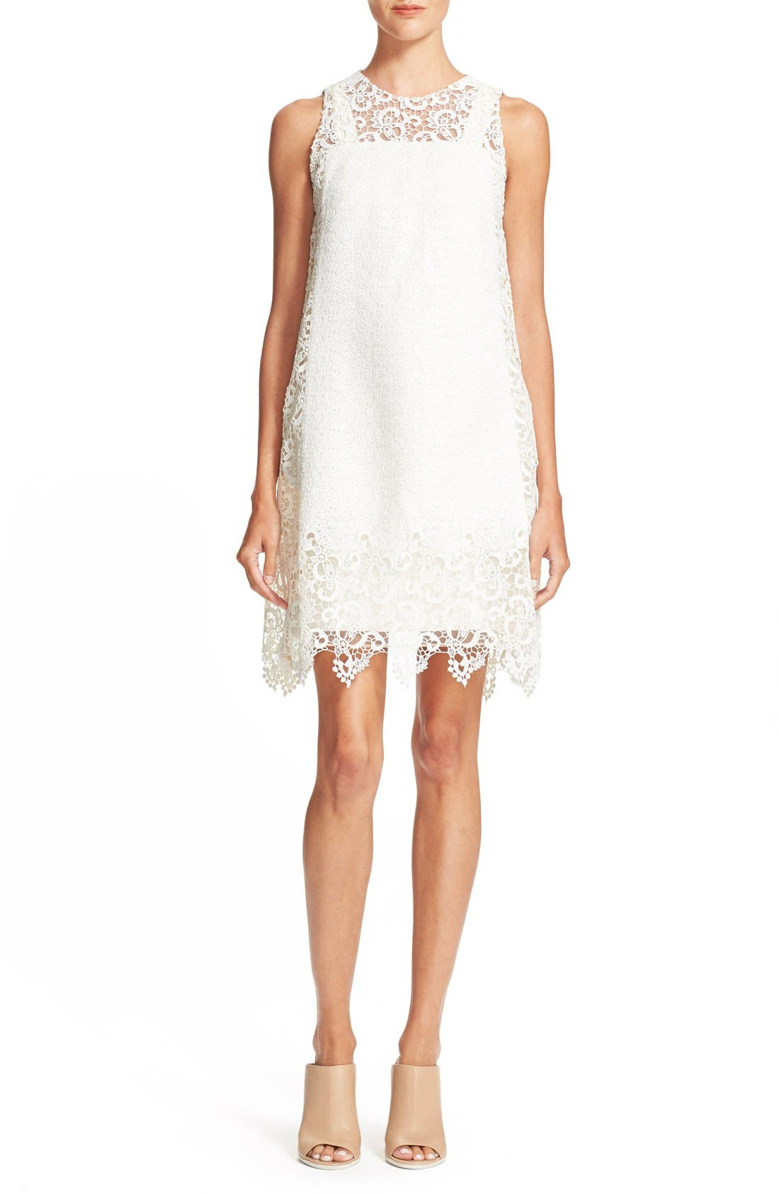 Main Image - Hunter Bell 'Keely' Lace & Organza Shift Dress
