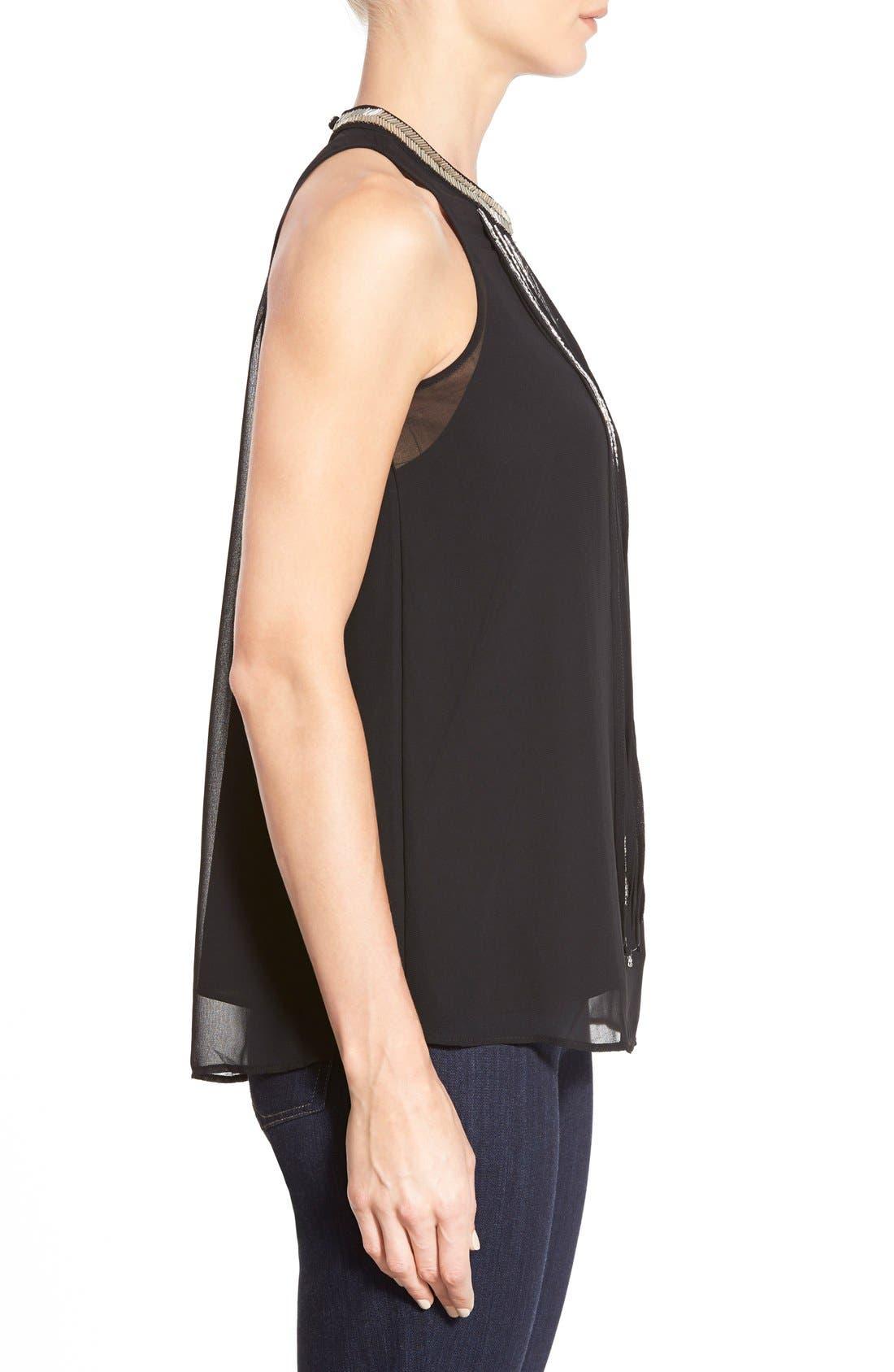 Alternate Image 3  - DKNYC Embellished Fringe Sleeveless Chiffon Top